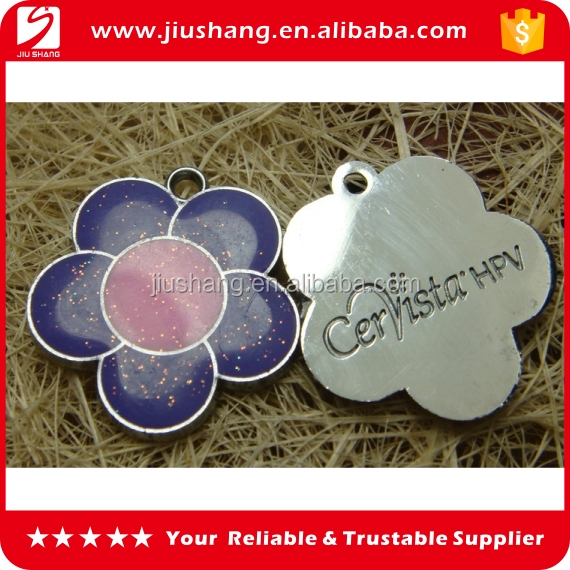 Custom design metal keychains with epoxy flower shape