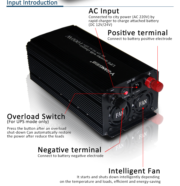 DC to AC Rechargeable UPS 1000w inverter with battery charger