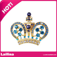 Rhinestone crown brooch cheap crystal crown brooch pin with high quality