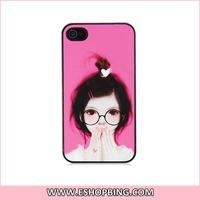 SLIDER Cartoon Girl with Glasses Design PC Protective Case for iphone 4S