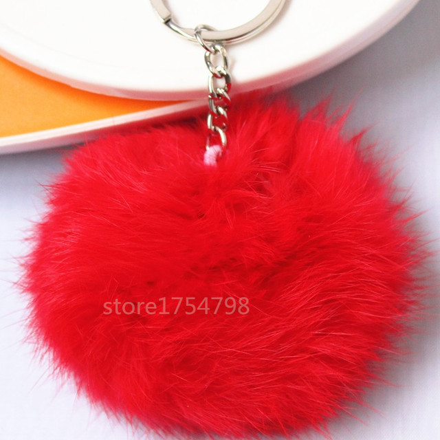 16Colors Real Fur Ball 8cm Pompom Keychain Car Keyring Rabbit Fur Ball Keychain Fur Brand Pompons Bag Charms With Chains Keyring