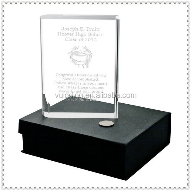 Book Shape Engraved Crystal Awards Plaque With Nice Gift Box