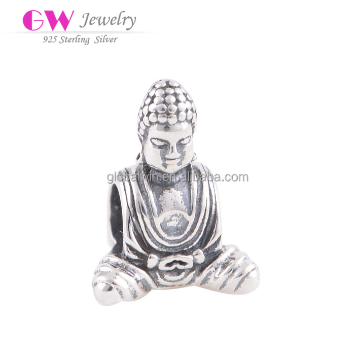 Custom Made Metal Logo Silver Charms Classical Chinese Wholesale Buddha Charms