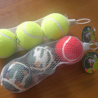 custom made 3pcs tennis balls in mesh bag