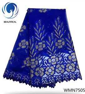 Beautifical Elegant royal blue french net lace fabric 2018 hot sale nigerian embroidery tulle lace fabric for party dress WMN75