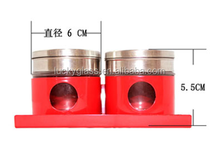 Red coating glass spice jar with metal lid