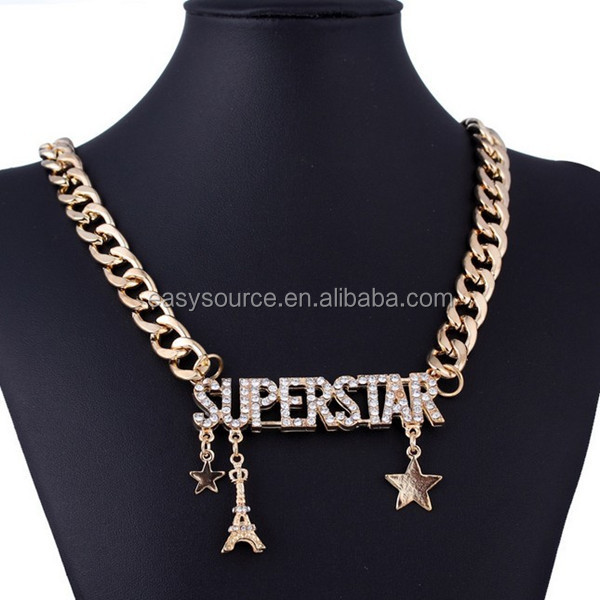 fashion vintage stars chunky metal chain punk style personalized superstar pendant necklace