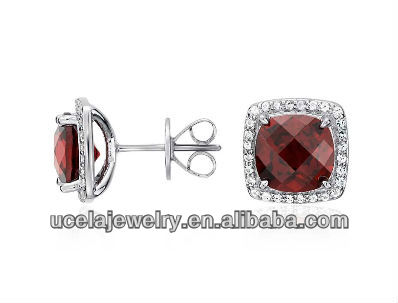 Garnet Halo Stud Earrings dropship Sterling Silver set jewelry wholesale