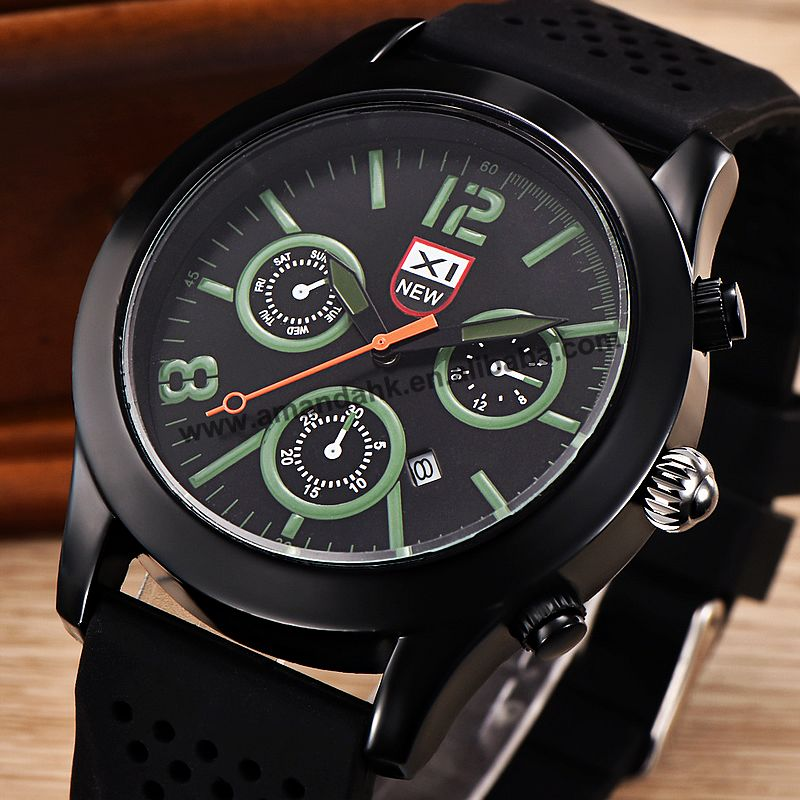 100pcs/lot XINEW-5471 fashion charming man sport silicone watch wrap quartz black color outdoor wristwatch wholesale watch