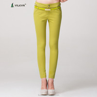 casual tight green elastic 2015 hot fashion pants ladies wholesale pants