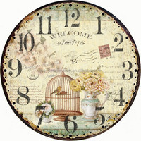 WELCOME HOME ROUND MDF WALL CLOCK