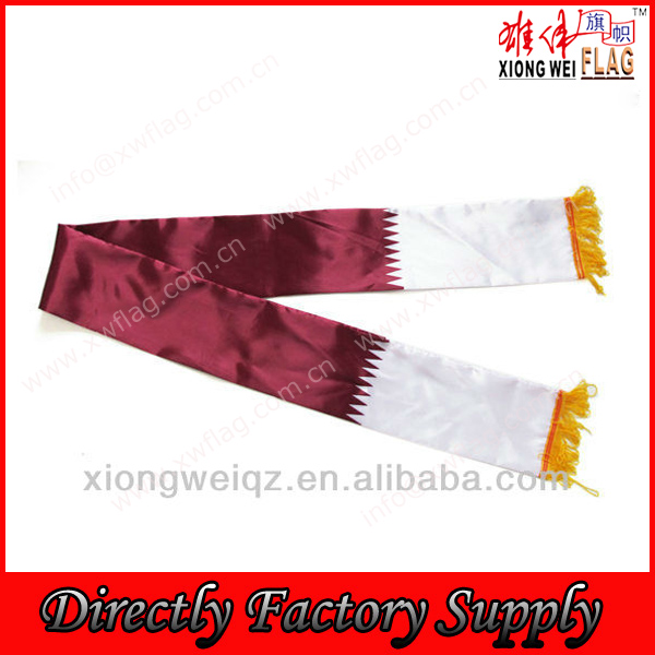 Satin material Qatar national team fans wrap Fans scarves tassels scarf
