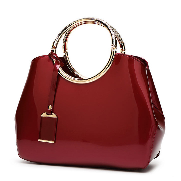 Popular glossy patent leather women handbag directly from China factory
