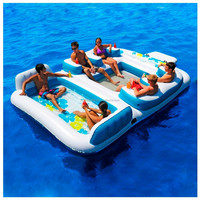 Inflatable floating island for 6 people, inflatable mattress for 6 people