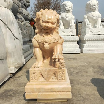 China Marble Foo Dog Decor Sculpture