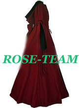Rose Team-Free Shipping Custom-made Medieval Costume Claret Dress Renaissance Victorian Costume For Fantasy Holiday Parties
