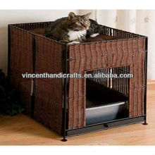 Country natural rattan weaving collapsible pet house