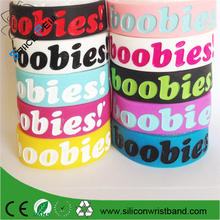 100% quality I Love Boobies Silicone Bracelet Wristband Rubber hand bands