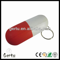 pu foam capsule shape anti stress ball key ring / key chain