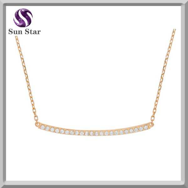 "Rose gold plated Sterling silver long single row CZ bar necklace 16"" + 2"""