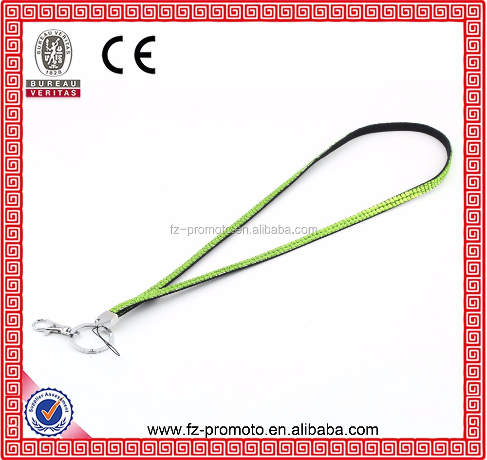Light Green Color 2016 Hot New Rhinestone Bling Crystal Custom Lanyard ID Badge Cell Phone and Key Holder
