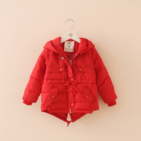 Wholesale 2015 new arrival kids collect waist winter hooded coat for baby girls