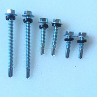 Hex head self drilling screws with EPDM washer or rubber washer with long drlilling points