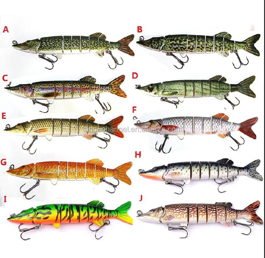 "5"" 12.5cm 19g 8 section fishing pike articial fishing lures multi jointed crankbait swim bait"