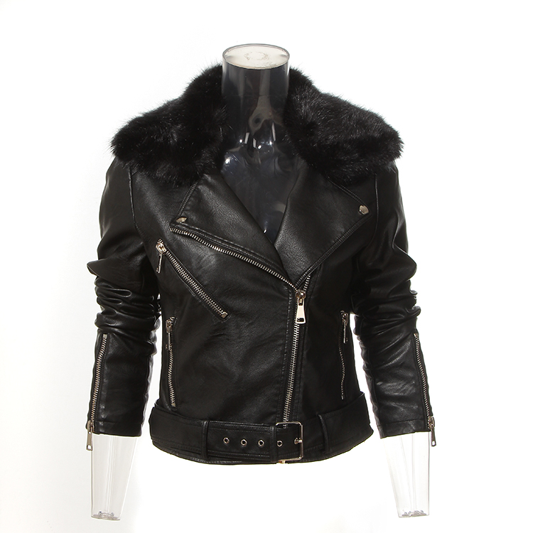 Hot selling black fashion PU leather jacket for women