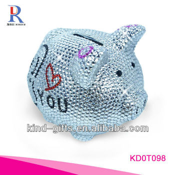 Hot Sale Christmas Gift Bling Rhinestone Piggy Banks For Kids With Crystal China Supplier