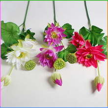 Chinese Artificial Lotus Plastic Flower Water Lily Flowers Low MOQ Decorative
