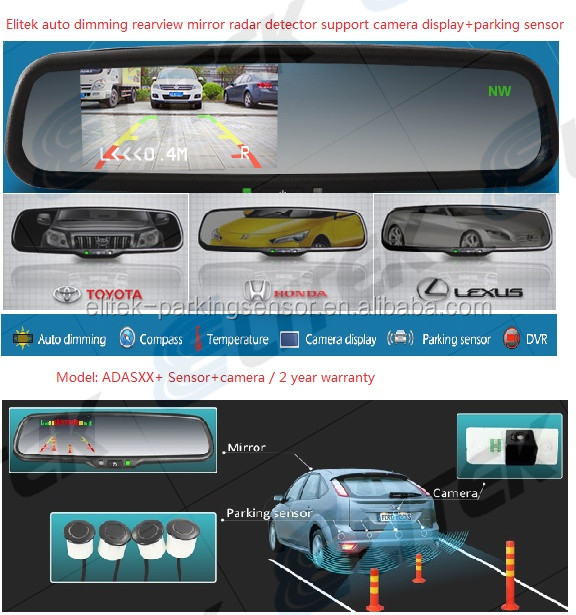 Car rear view camera with video parking sensor system for Japana car, Rearview mirror option