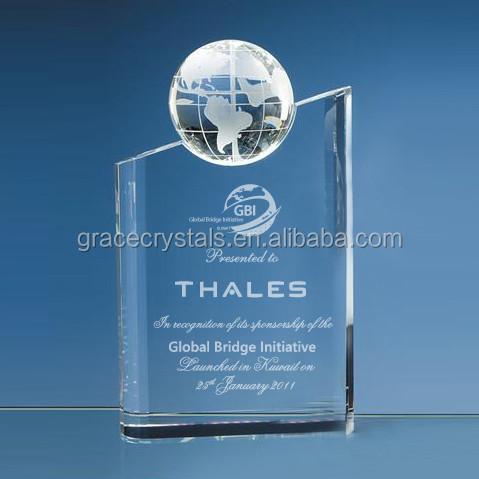Globe themed gifts world globe trophy globe plaque crystal