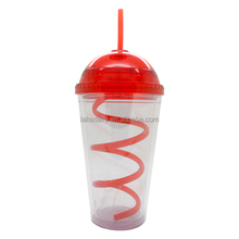 16oz double wall plastic tumbler with curly straw