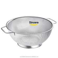 Stainless Steel Micro-perforated 5-Quart Colander - Professional Strainer with Handles and Self-draining Solid Ring Base
