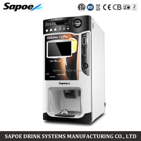 Sapoe 7 inch LCD display coin operated automatic coffee vending machine