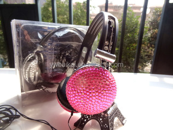 Rhinestone computer headset headphones Promotional earphone