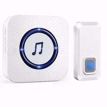 UK Plug-in wireless 1 transmitter 1 receiver 300m range doorbell with blue flashers