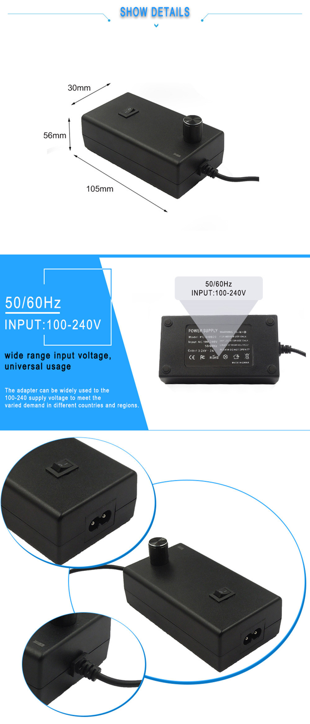 3-12v 2a ac dc adjustable switching power supply adapter