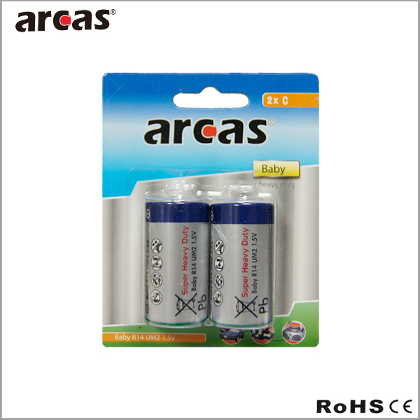 r14 c size battery, um2 1.5v super heavy duty zinc carbon battery