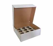 Custom Size and Printing Recyclable OEM Flat Foldable Corrugated Cup Cake Shipping Box with insert