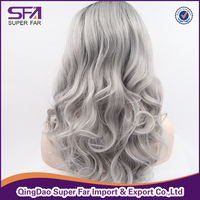 Synthetic hair grey lace front wig wholesale price