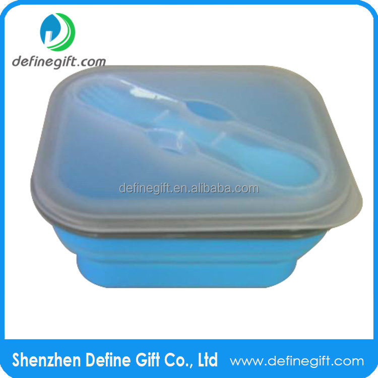 For Camping School Work Reusable Silicone One Compartment Small Collapsible Lunch Box