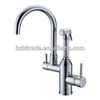 Used kitchen pull out brass single level wall mounted kitchen mixer tap