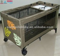 acrylic portable modern baby folding playpen with lockable wheels, mosquito fabric,