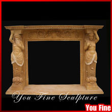 Home Decoration Natural Yellow Marble Fireplace Carving