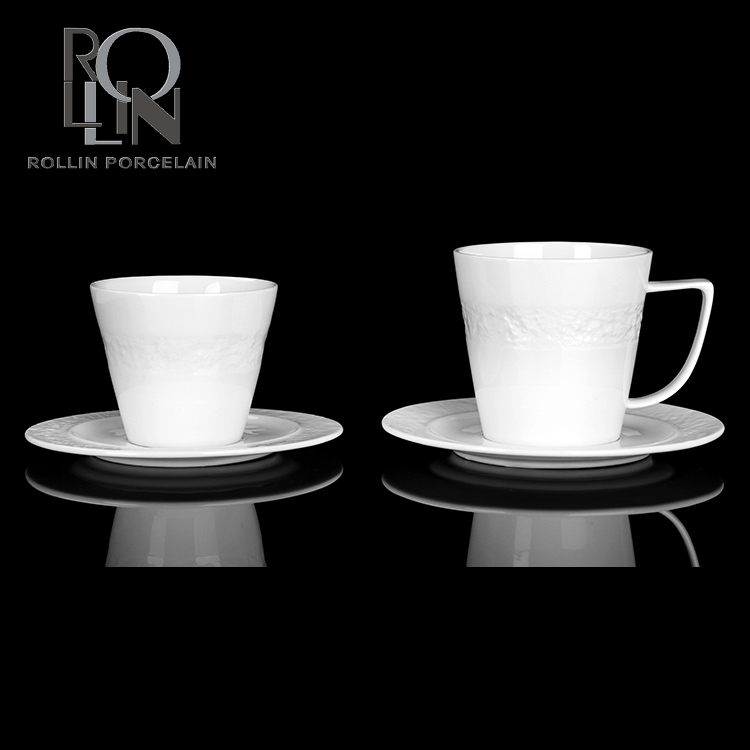Custom logo ceramic coffee cappuccino espresso cup with saucer white porcelain coffee cup
