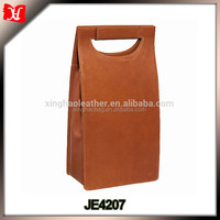 Personalized PU Leather Double Wine Carrier, Faux Leather Wine Bag For Gift