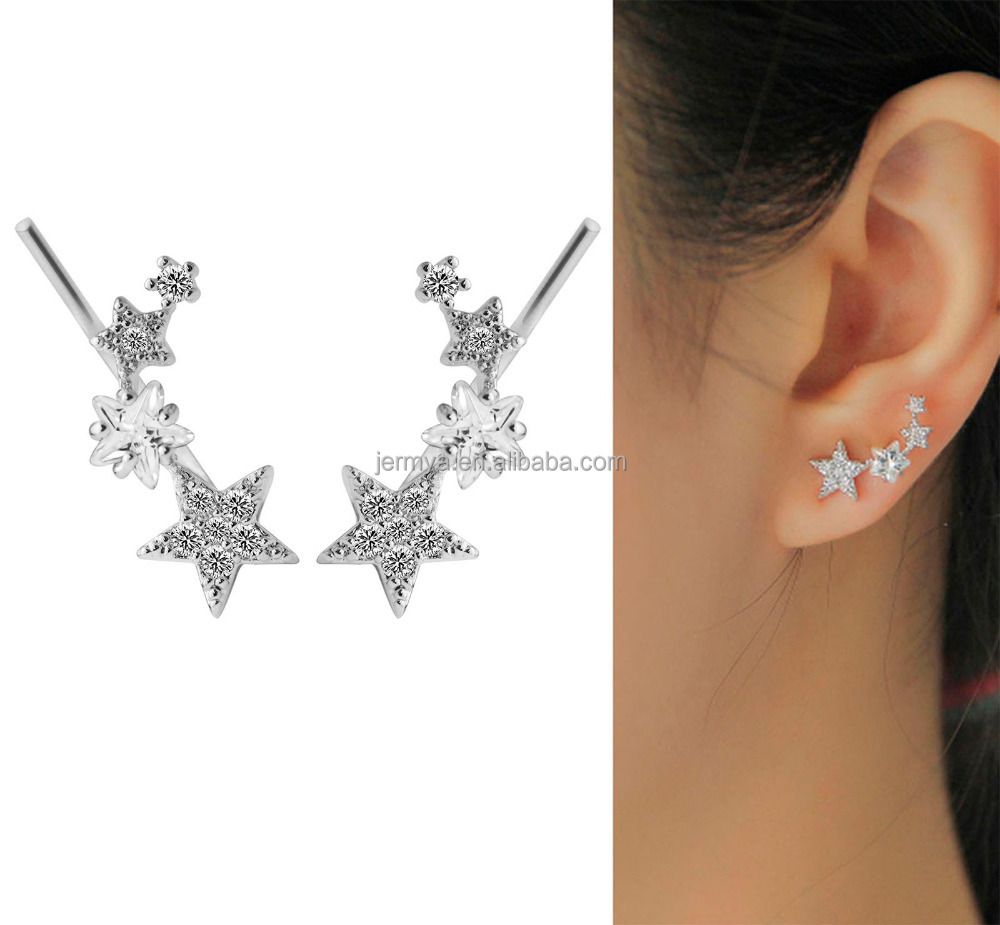 Jermya Christmas Star Zircon Diamond Ear Climber Earrings Stud Earrings