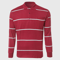 APL032 Striped Long Sleeve Polo Shirts Men White Red Block Polo Shirt Classic Three Button Placket Designer Basic Home Wear
